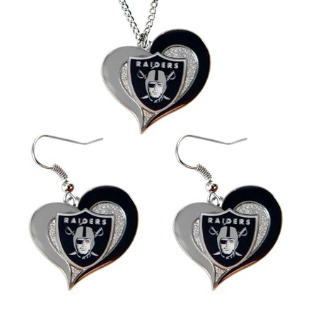 Oakland Raiders NFL Swirl Heart Pendant Necklace And Sports Team Logo Earring Set Charm - Raiders Necklace