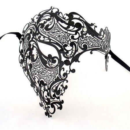 Men Black Skull half Face Laser Cut Metal Masquerade Mask for $<!---->
