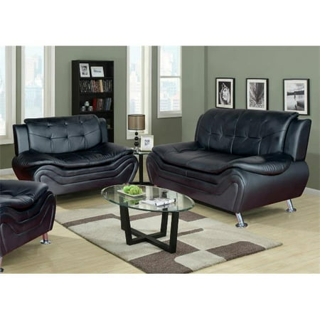 Beverly Fine Furniture Sydney Bold Faux Leather Living Room Sofa Set Black 2 Piece