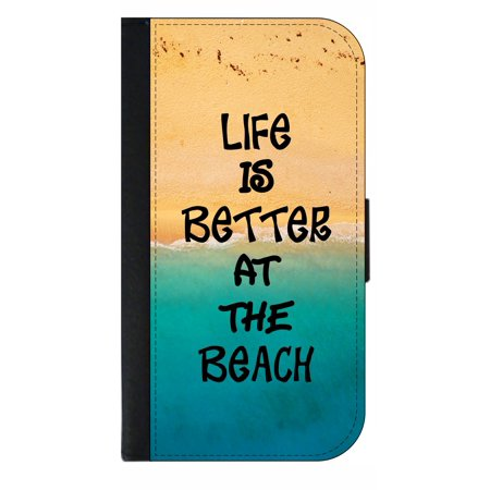 Life is Better At the Beach Phone Case Compatible with the Samsung Galaxy s9 - Wallet Style with Card Slots (Better Cell Phone Reception)
