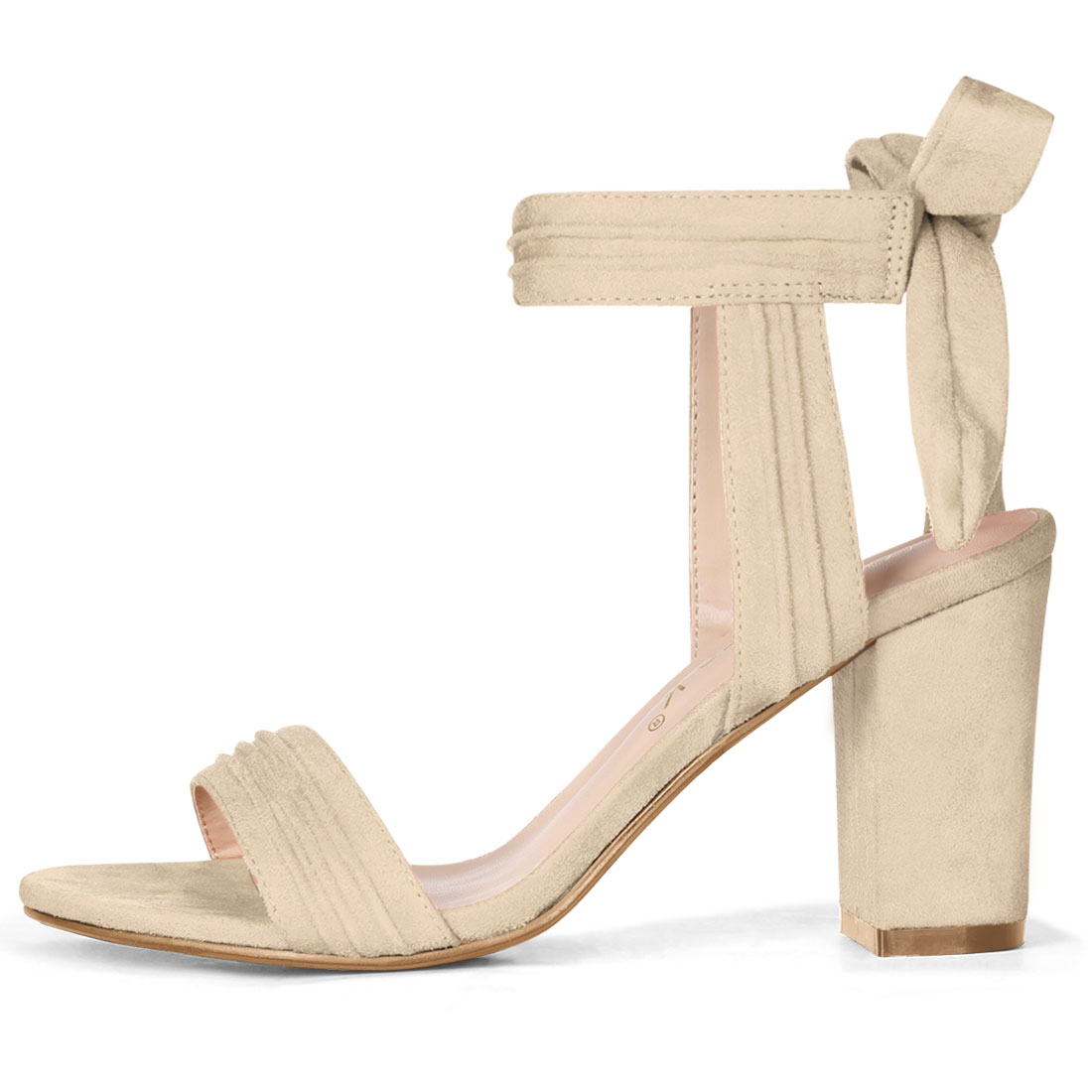 Unique Bargains Women's Ankle Tie Open Toe Block Heel Sandals Beige (Size 9.5) - image 5 of 7
