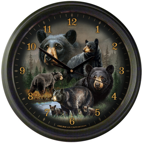 """American Expedition 16"""" Wall Clock - Black Bear Collage"""