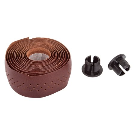 Origin8 Classique Sport Leather Handlebar Tape Dark Brown With Resin Plugs