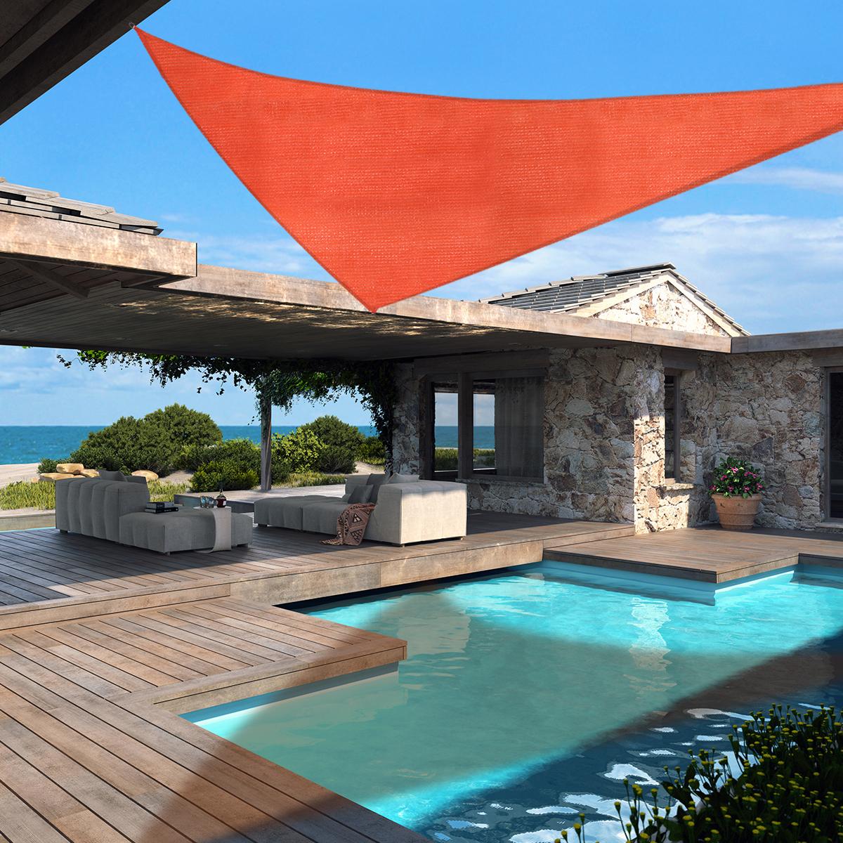 16.5 Ft Triangle Sun Shade Sail Fabric Outdoor Patio Pool ...