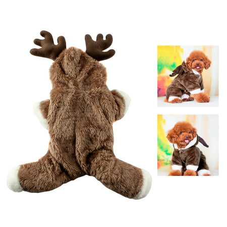 Dog Cat Puppy Soft Hoodie Jumpsuit Clothes Christmas ElK Costume - Dog Cosplay Costumes
