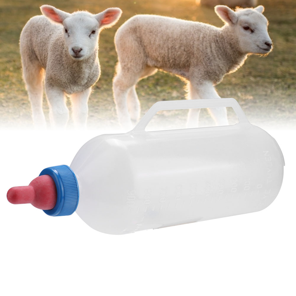 Details about  /Nipple 1L Lamb Milk Bottle Baby Goat Milk Feeding Feeder Nursing Cup with Handle
