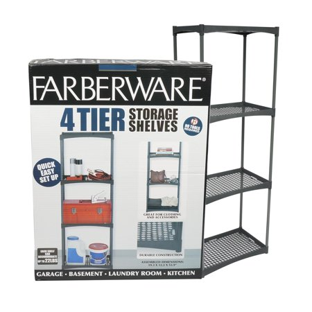Heavy Duty 4 Tier Garage Outdoor Plastic Interlocking Utility Storage Shelving Unit with Wall Brackets, Black ()