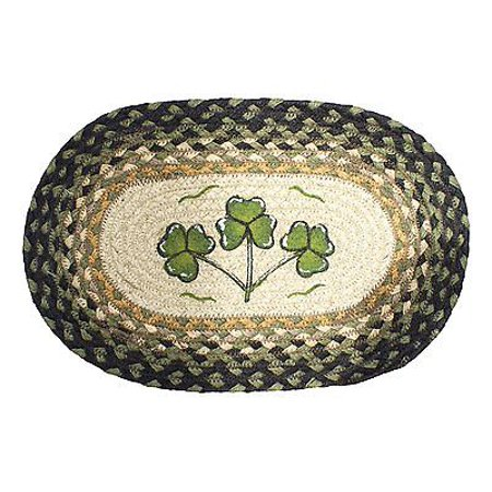 SHAMROCKS 100% Natural Braided Jute Oval Swatch Trivet/Placemat, by Earth Rugs