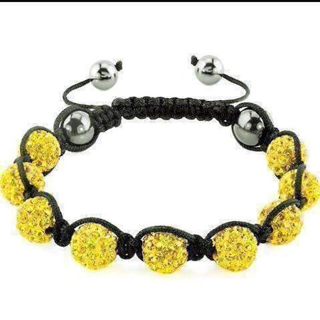 ON SALE - Yellow Sparkly Crystals Hand Made Shamballa Bead Bracelet Yellow