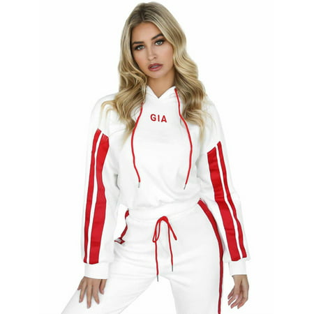 2Pcs Set Women Tracksuit Hoodies Crop Top Sweatshirt Pants Lounge Sports (Crop Pants Suit)