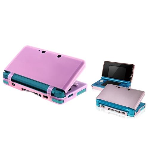 INSTEN Pink Aluminum Hard Case+Hot Pink Skin Gel Case For Nintendo 3DS N3DS