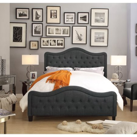 FULLY WIND CO, LTD. Moser Bay Furniture Adella Linen Charcoal Queen Waved Top Upholstery Bed