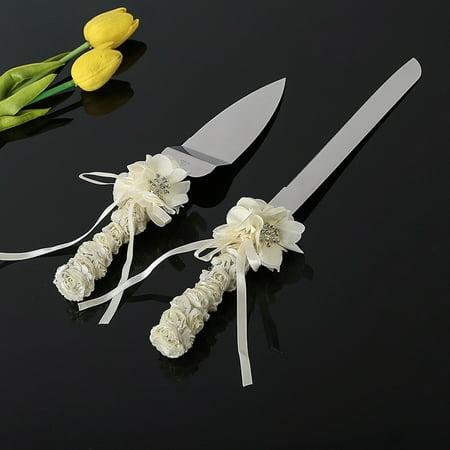 Wallace Rose Dinner Knife - Ivory Rose Wedding Knife & Cake Server Set Bouquet Design Silk & Swarovski Crystal Ceremony knife and server set, Cake Servers & Knives Cake
