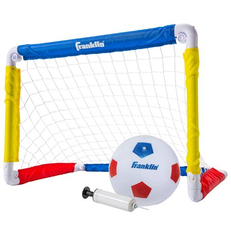 Franklin Sports Kids 24 x 16 Soccer Goal with Ball and Pump Blue Soccer Nets