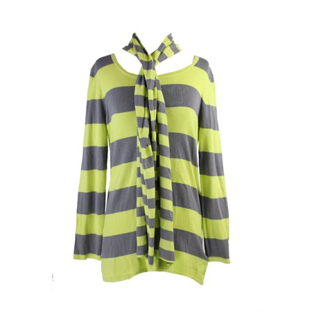 Cable Gauge Sweaters (Cable & Gauge Lime Green Striped Scarf Sweater M)