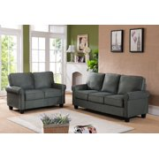 Jadira 2 Piece Gray Upholstered Microfiber Transitional Stationary Living Room Set 54 5 Loveseat