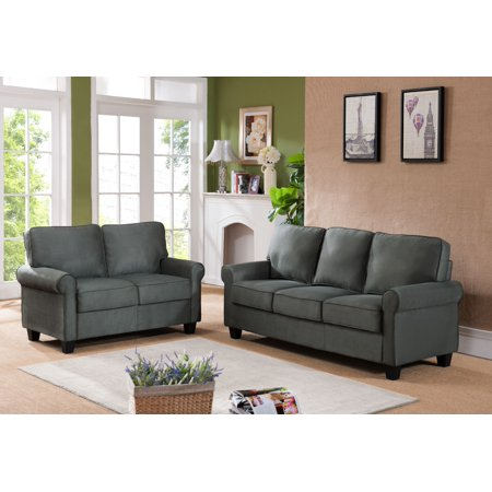Incredible Jadira 3 Piece Gray Upholstered Microfiber Transitional Stationary Living Room Set Chair 54 5 Loveseat 75 Sofa Camellatalisay Diy Chair Ideas Camellatalisaycom