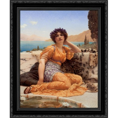 With Violets Wreathed and Robe of Saffron Hue' 20x24 Black Ornate Wood Framed Canvas Art by Godward, John William