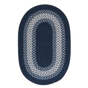 2' x 7' Navy Blue and Gray Braided Oval Reversible Throw Rug