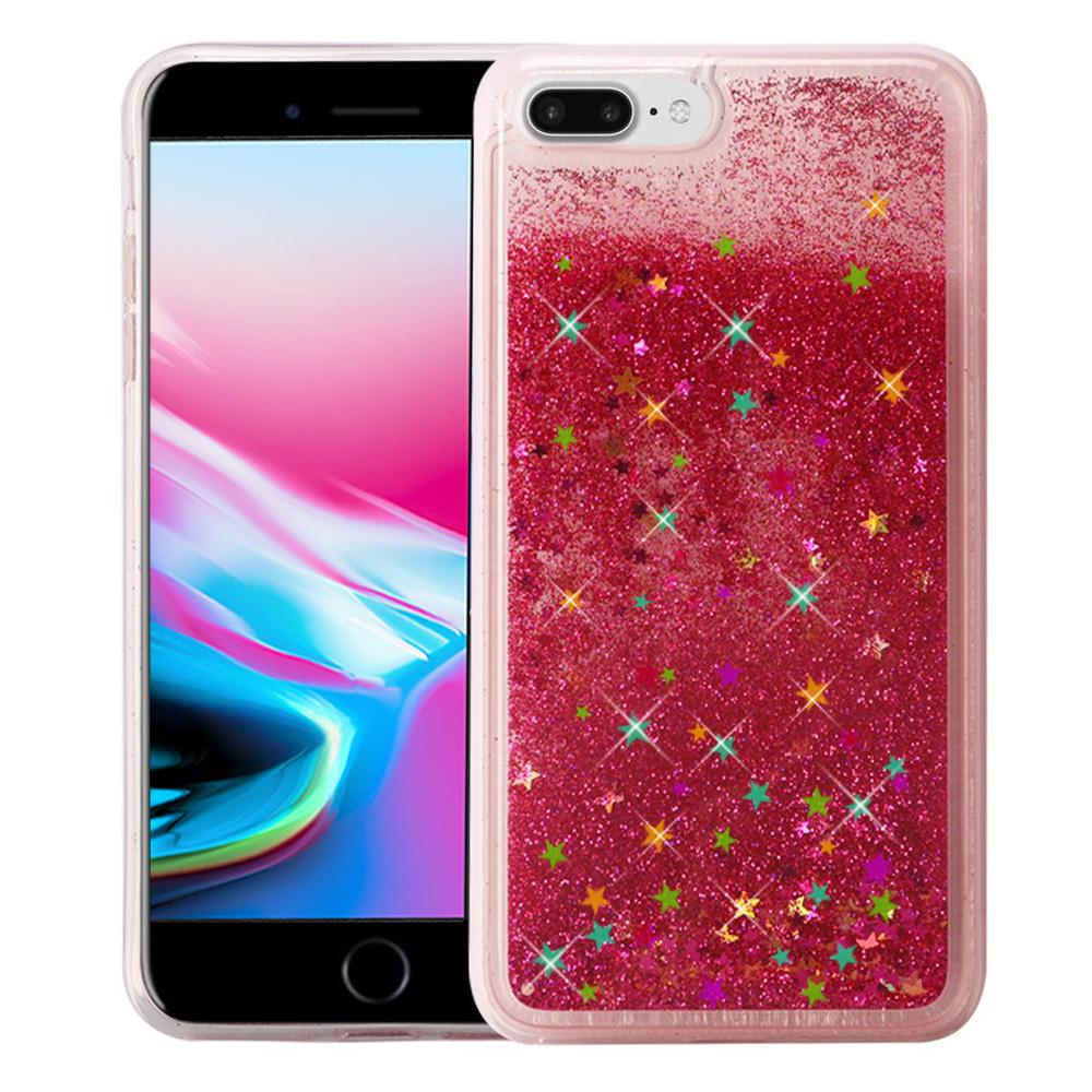 iPhone 8 Plus Case, Premium Liquid Case for iPhone 8 Plus, Hybrid Quicksand Fashion Design Flowing Bling Glitter Sparkle Diamond Clear Soft Flexible TPU Case Bumper for iPhone 8 Plus - Rose Pink