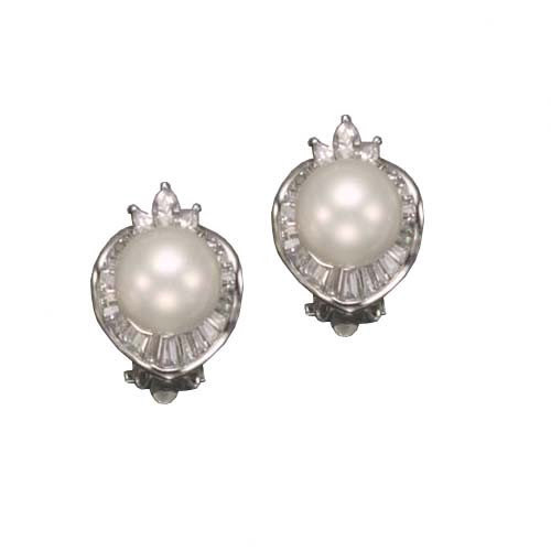 CZ Collections Freshwater White Cultured Pearl Rhodium Plated Earrings