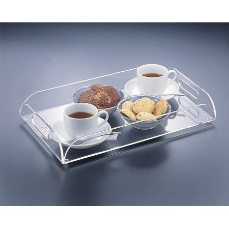 Acrylic Lucite Serving Tray With Edge And Handles 16 X10
