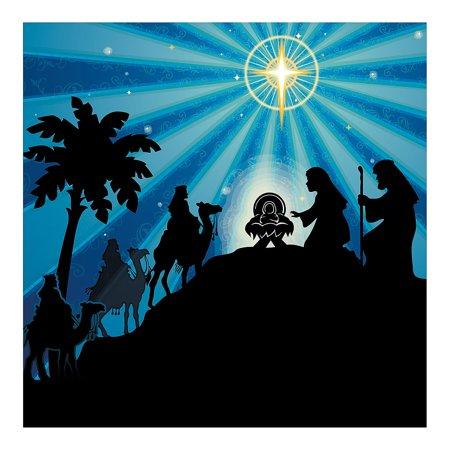 Fun Express - Silhouette Nativity Backdrop Banner for Christmas - Party Decor - Wall Decor - Preprinted Backdrops - Christmas - 2 (Nativity Backdrop)
