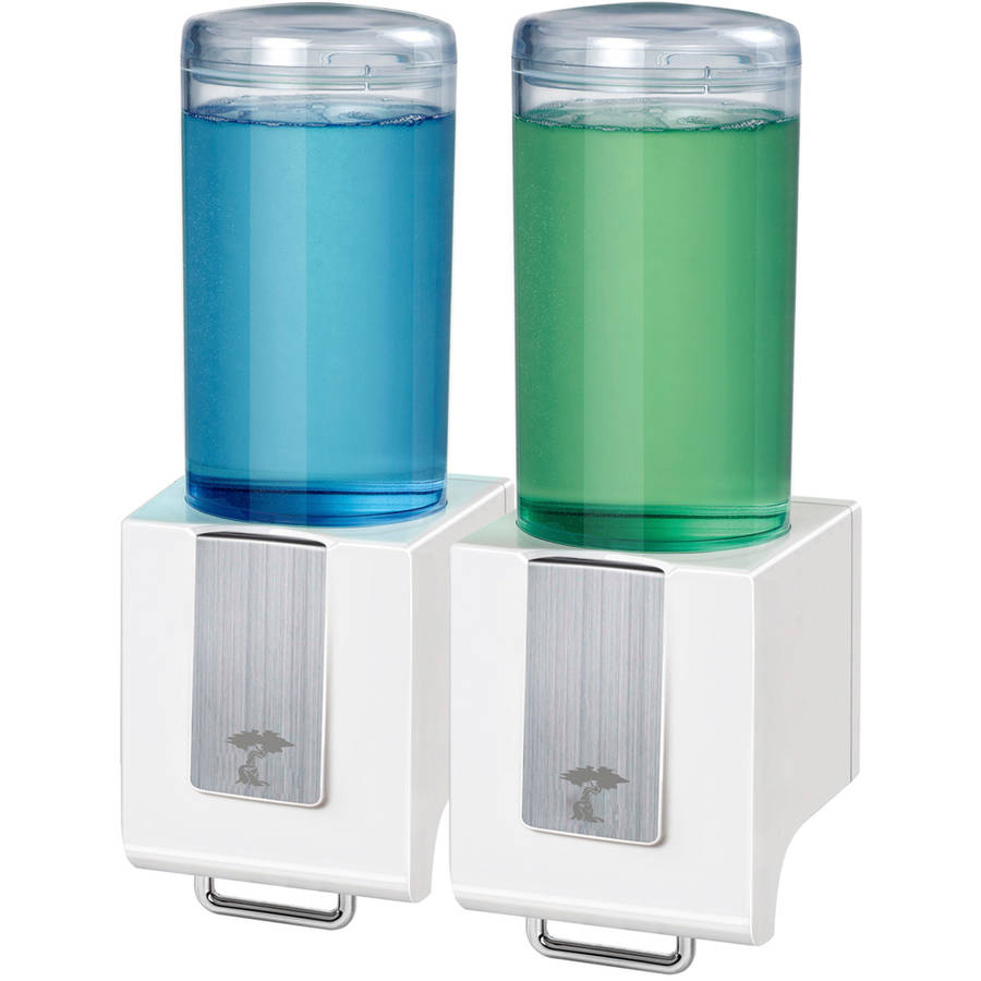 ToiletTree Products Deluxe Shampoo and Soap Dispensers, Double White