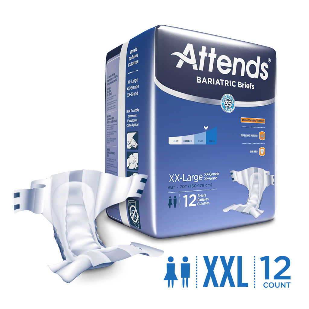 Attends Bariatric Briefs, XXL, Unisex, with Advanced DermaDry™ Technology for Adult Incontinence Care (12 Briefs)