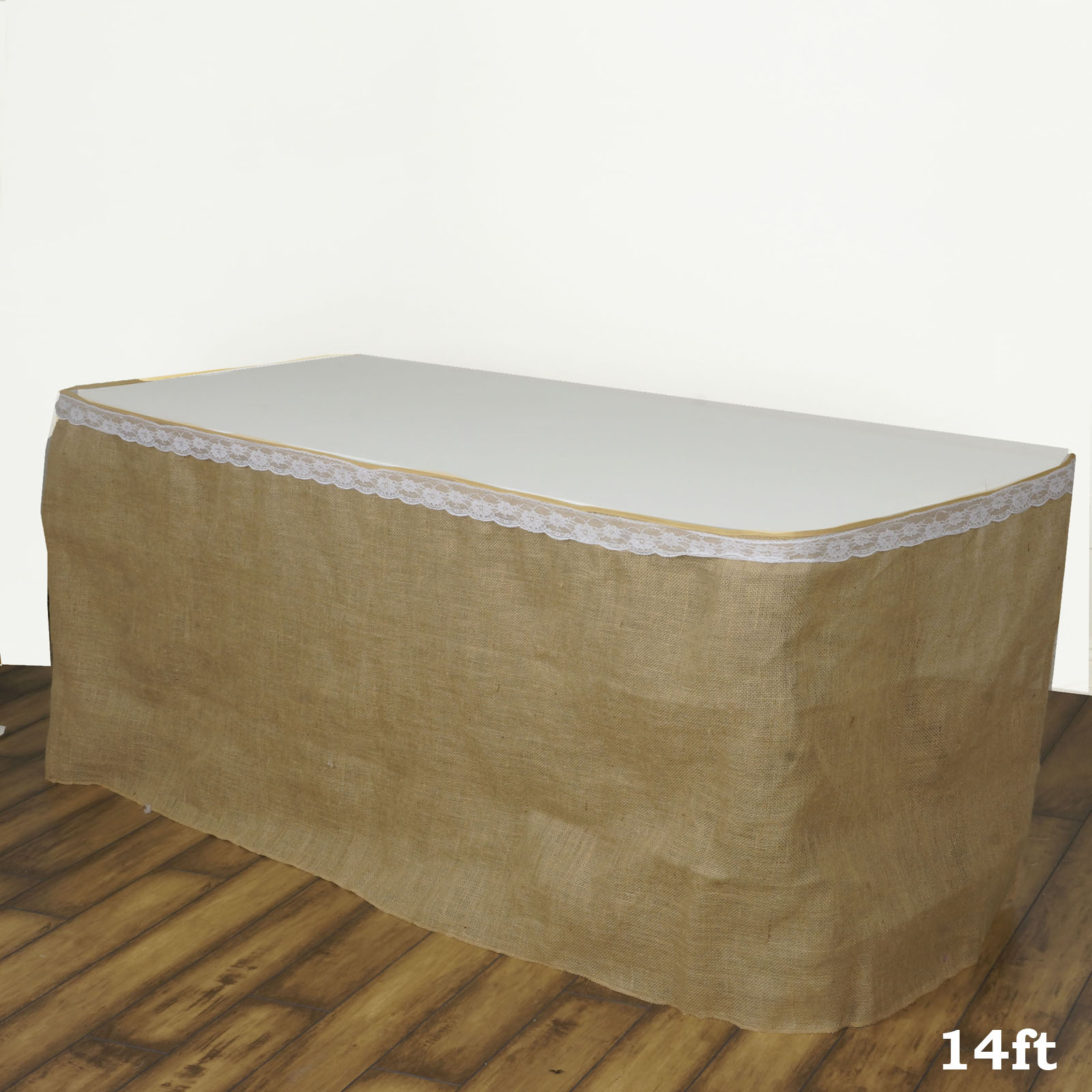 """BalsaCircle Natural Brown 14 feet x 29"""" Burlap Table Skirt - Linens Wedding Party Events Decorations Kitchen Dining Catering"""