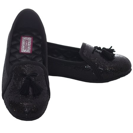 Black Sparkle Tassel Loafer Shoes Girls 11-4