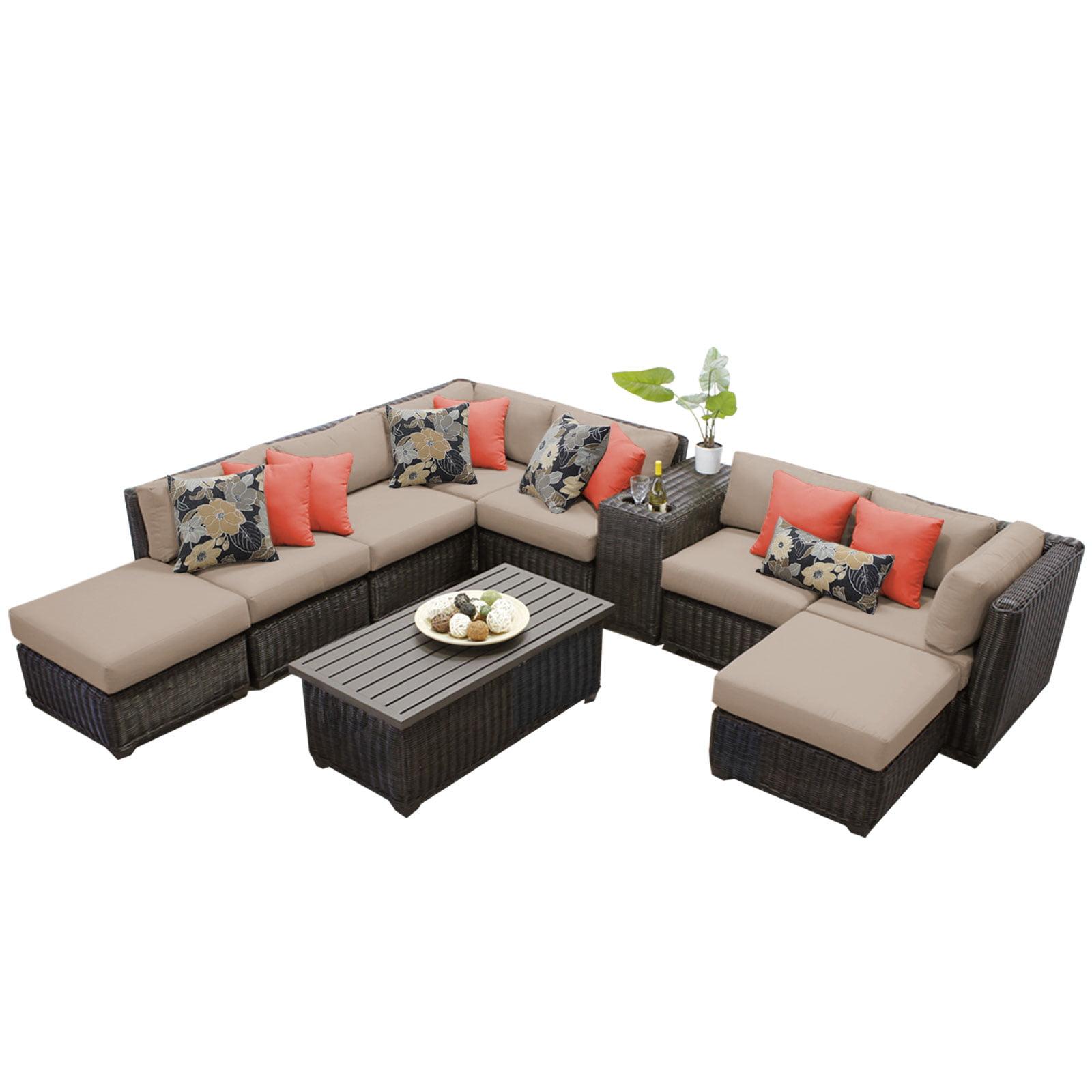 Rustico 10 Piece Outdoor Wicker Patio Furniture Set 10a by TK Classics