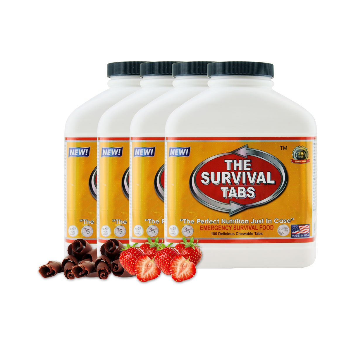 Survival Tabs 60 Day 720 Tabs Emergency Food Survival MREs Meal Replacement for Disaster Preparedness Gluten Free and Non-GMO 25 Years Shelf Life Long Term - Strawberry and Chocolate Flavor