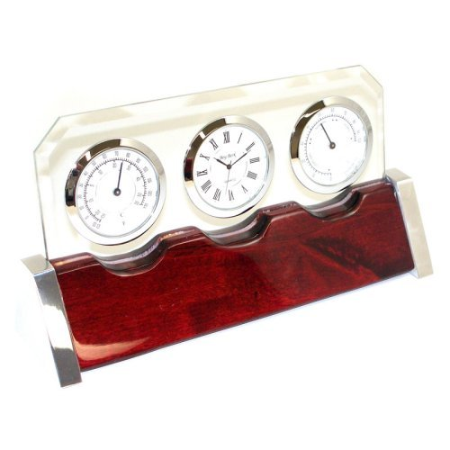 Bey-Berk International Glass & Rosewood Weather Station Desktop Clock