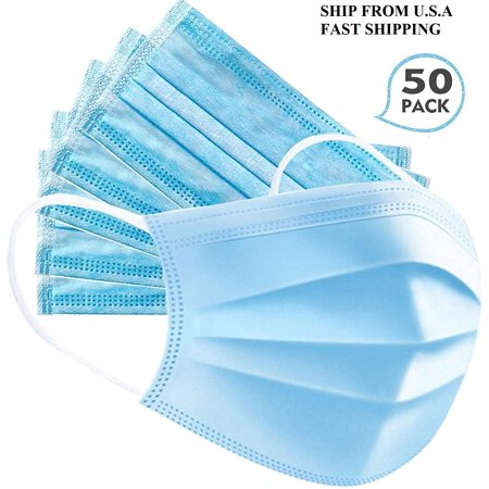 50pcs Disposable 3-Layer Protective Face Mask Anti Dust Breathable Earloop Mouth Face...