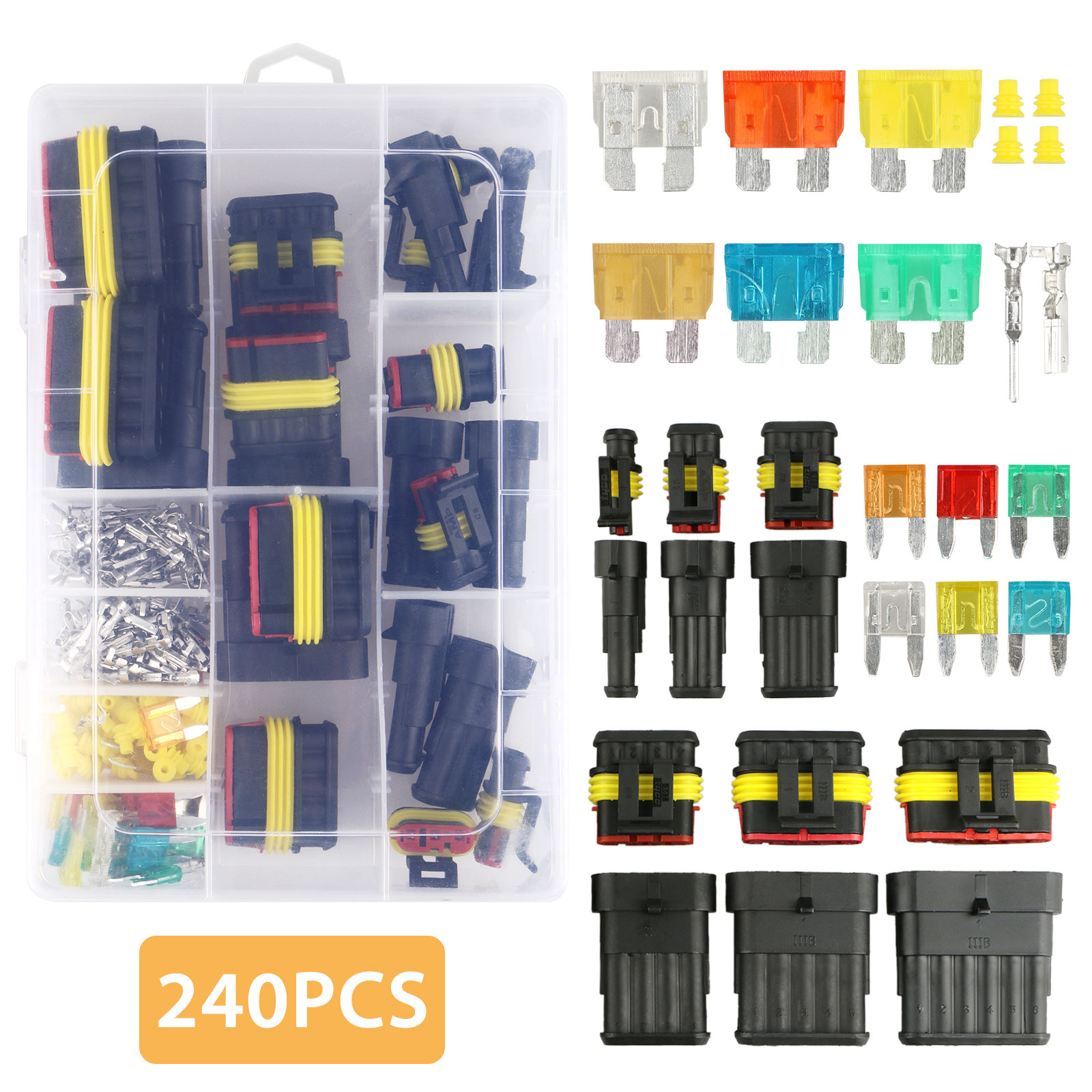 TSV 240PCS 1 2 3 4 5 6 Pin Waterproof Car Auto Electrical Wire Connector Terminal Plug with 5-30 AMP Blade Fuses Assortment Kit for Motorcycle, Scooter, Car, Truck, Boats
