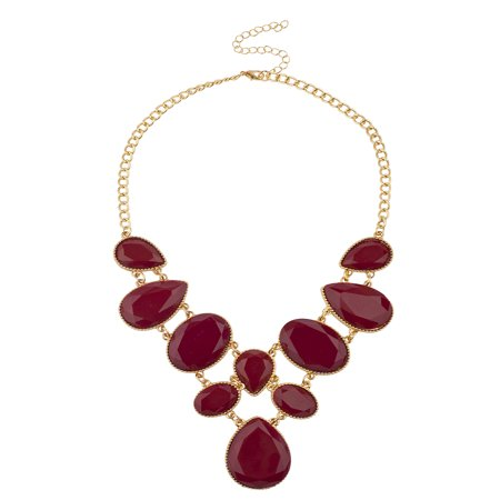 Lux Accessories Burgundy Goldtone Double Row Teardrop Oval Statement Necklace