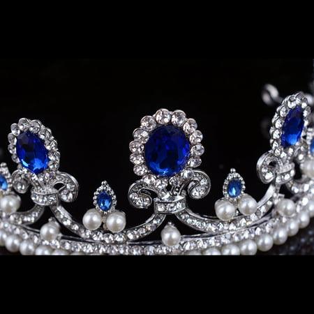 Meigar Blue Crystal Rhinestone Bridal Tiara Princess Pearls Crown Wedding Prom Headband - image 3 de 6