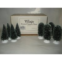 department 56 village frosted topiary trees set of 8
