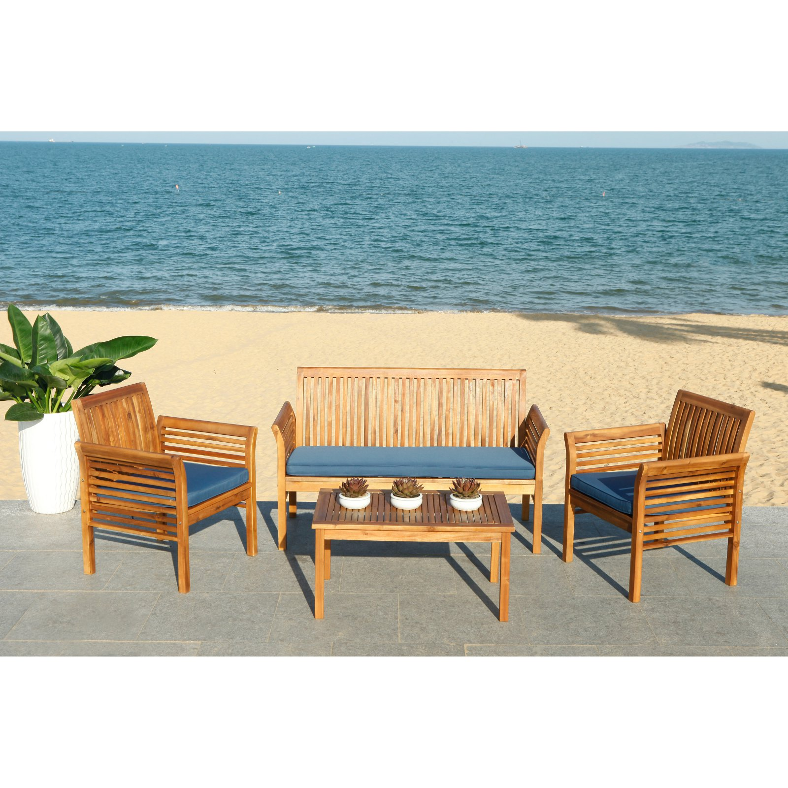 Safavieh Carson Outdoor Contemporary 4 Piece Living Set with Cushion