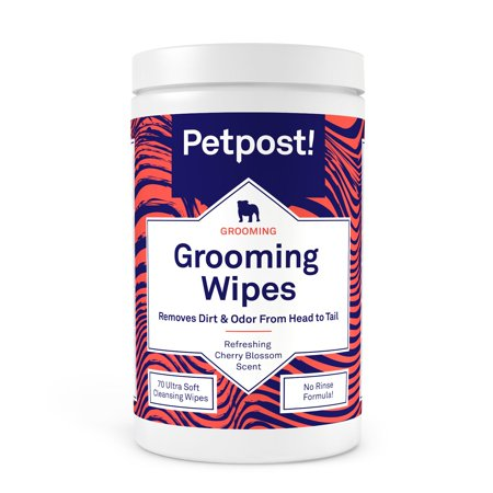 - Petpost | Grooming Wipes for Dogs - Large, Deodorizing Wipes with Cherry Blossom Scent - 70 Ultra Soft Cotton Pads in Cleansing Solution
