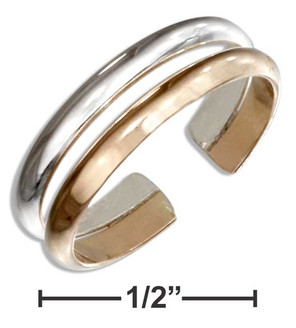 STERLING SILVER AND 12 KARAT GOLD FILLED DOUBLE BAND TOE RING