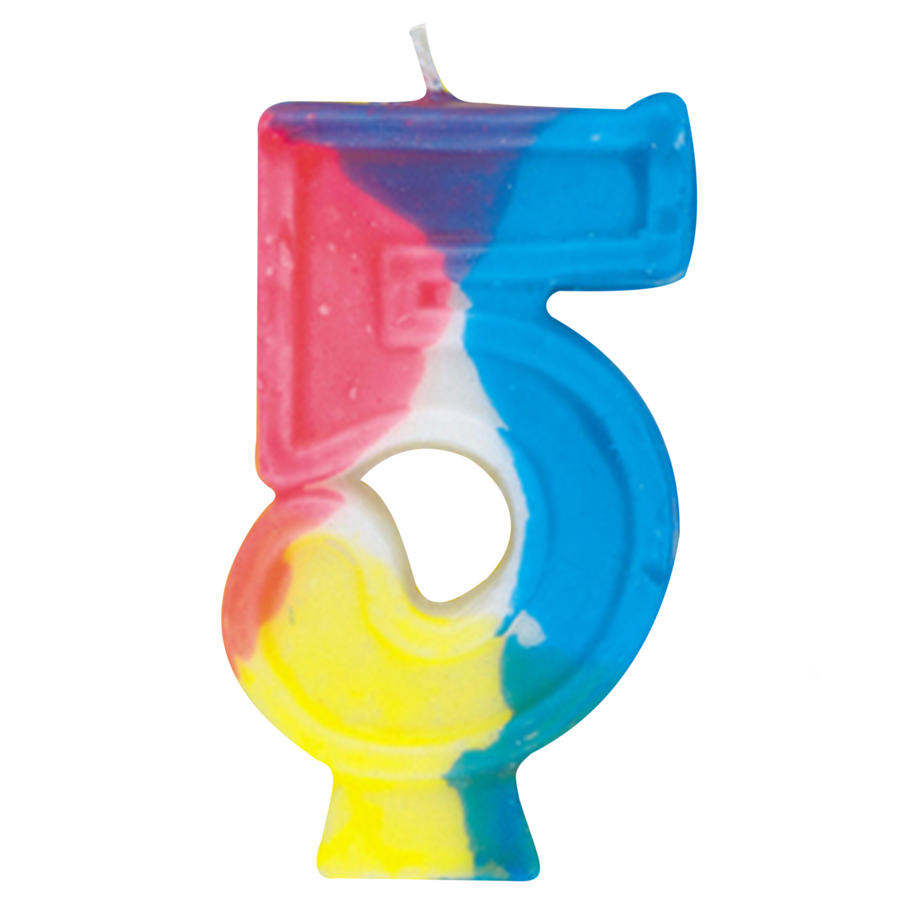 Number 5 Birthday Candle, 2.75 in, Multicolor, 1ct