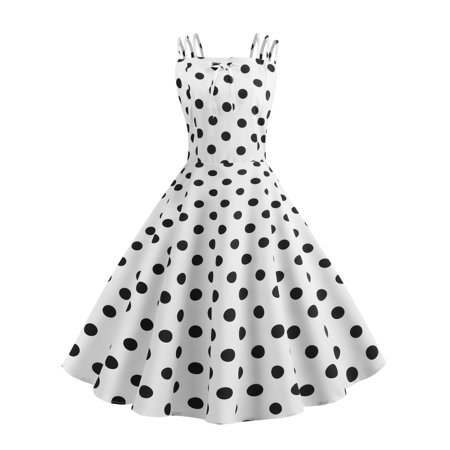 Womens Dresses Spaghetti Strap Polka Dots Sleeveless Pleated Elastic Tunic Vintage Bowknot Elegant Maxi Dress