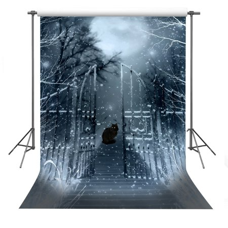 70s Backdrop (GreenDecor Polyster 5x7ft Black Cat Photography Backdrop Halloween Theme Photo Background)