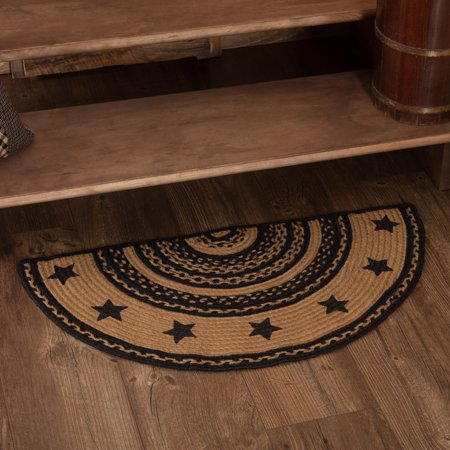 Country Black Primitive Flooring Black Stencil Star Stars Jute Stenciled Star Half Circle Accent Rug