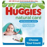 Huggies Natural Care Refreshing Baby Wipes, Scented, 3 Flip-Top Packs (168 Wipes Total)