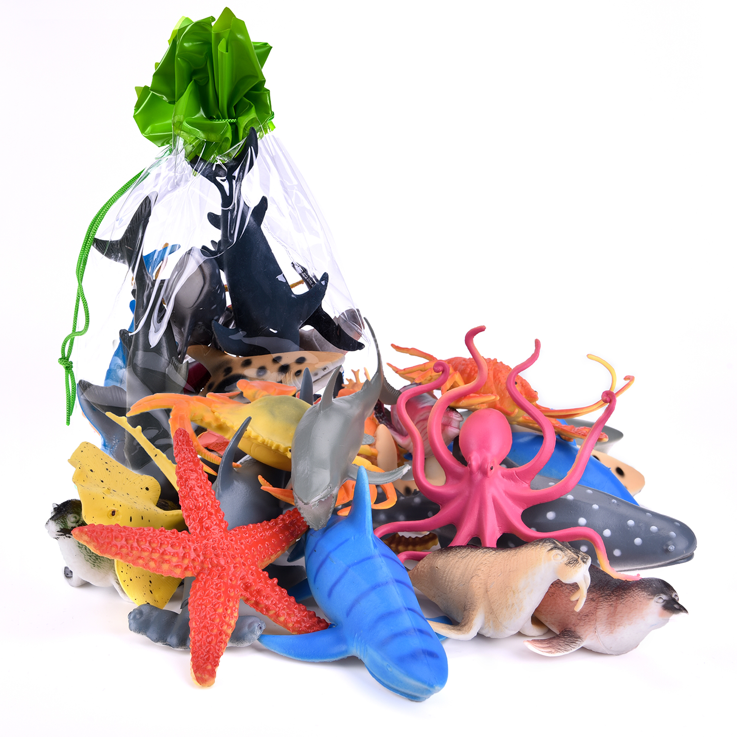 Sea Animals Bath Toys Plastic Summer Rubber Ocean Creatures Collection Underwater Marine Fish Pool Toy Includes a Storage Bag 18 PCs F-02