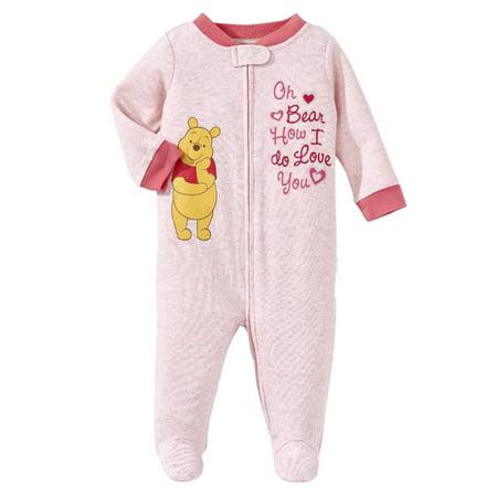 e9c834aa0229 Disney - Disney Infant Girls Pink Winnie The Pooh Bear Cotton Pajama  Sleeper Sleep   Play - Walmart.com