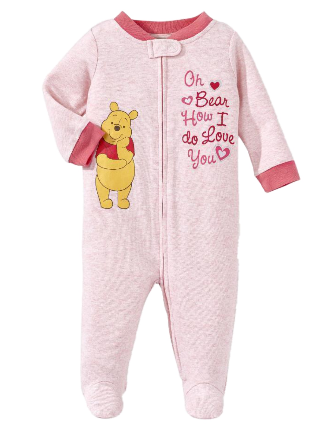 Disney Infant Girls Pink Winnie The Pooh Bear Cotton Pajama Sleeper Sleep & Play